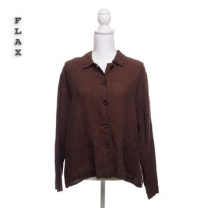 FLAX Brown Linen Front Pocket Top Size L